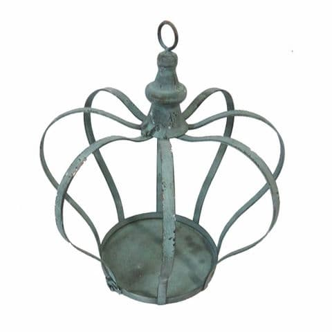 Stunning Verdigris Colour Metal Crown Plant Or Candle Holder